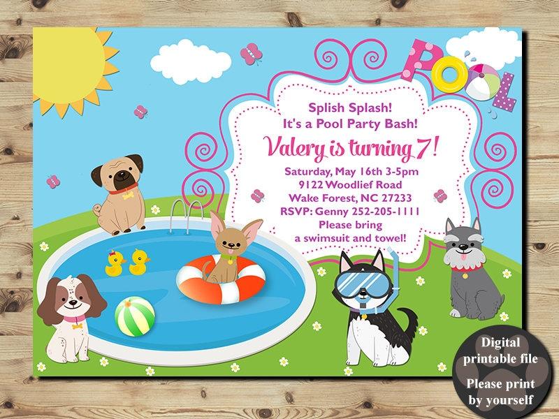 Pool Party Invitation POOL PARTY BIRTHDAY Invitation Puppy