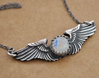 handmade sterling silver rainbow moonstone military wing necklace, one of a kind necklace, vintage military wing, aviator wing
