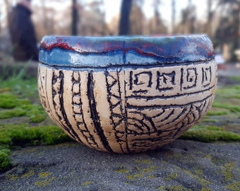 Decorative bowl Planter pot Ceramic bowl handmade Painted bowl Pottery bowl Bowl handmade Stoneware bowls Home decor Clay Bowl Unique bowl