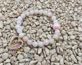 Pearl rose quarts Crystal heart charm bracelet