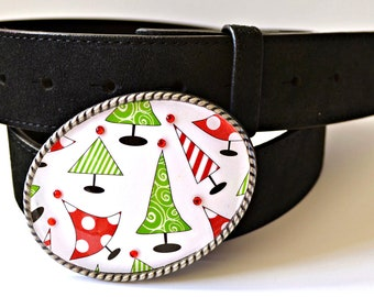 Christmas Tree Belt Buckle  Red Green Crystal Sparkle
