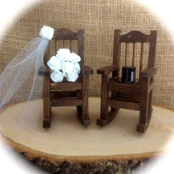 Rustic Mini Rocking Chair Cake Topper With Veil, Bouquet and Top Hat