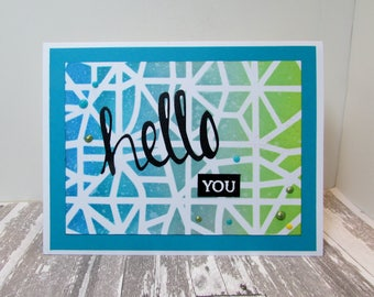 Handmade, Stamped Friendship Card, Die Cut Greeting, Stenciled Background, Greens and Blues, Embellished, Embossed Card