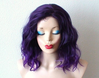 Purple wig. Ombre wig. Purple wig. Beach waves hairstyle wig. Short wig. Durable heat friendly wig for everyday wear or Cosplay wig.