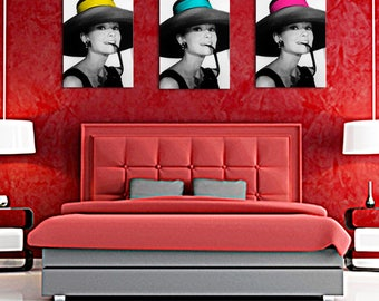 Black and white triptych with 1 splash of color headband Audrey hepburn