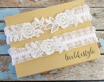 Wedding Garter Set, Rhinestone Ivory  Embroidery Flower Lace Wedding Garter Set, Ivory Garter Set, Bridal Wedding Garter  / GT-34B