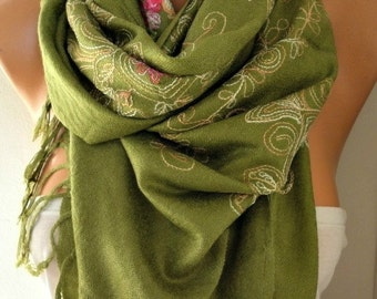 Grass Green Embroidered Scarf,Summer Shawl, Easter,Oversized, Bridesmaid, Bridal Accessories, Gift Ideas For Her, Women Fashion Accesssories