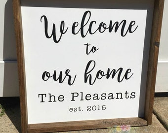 Welcome to our home wood sign, Personalized, Housewarming gift, Newlywed gift, Welcome home, Customized, Last name, Family name