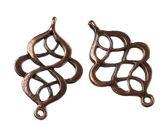 Antiqued Copper Twist Calabash Connectors