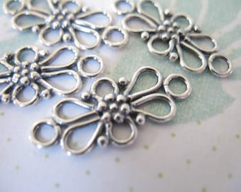 Shop Sale.. Sterling Silver Links Connectors Chandelier Compenents Findings, 20.5x9.5 mm, Bali Artisan Daisy Flower Scroll nc22