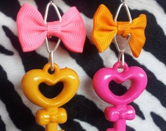Mismatched Kawaii Key Earrings