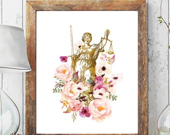 Lady Justice Print, Attorney Print, Lady Justice Art, Lawyer Gift, Lawyer Office Decor, Pass The Bar, Law Art, Law School Graduation Gift