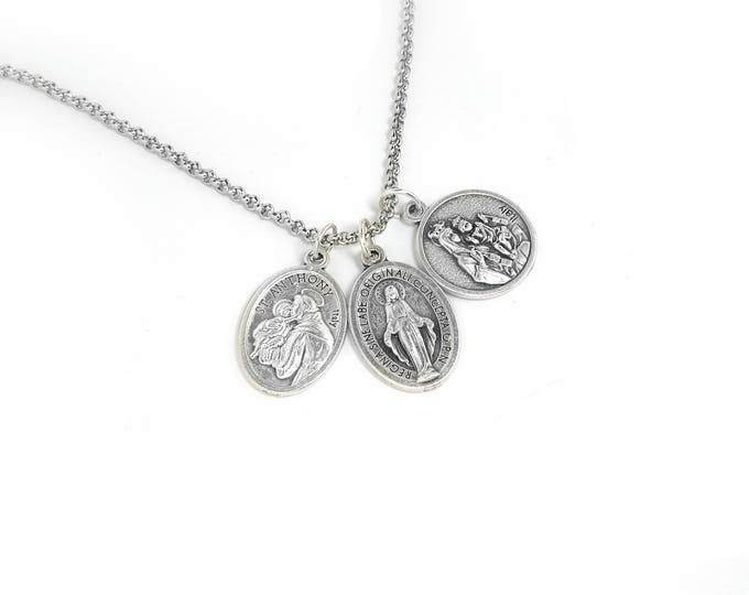 Trendy Religious Men's Charm Necklace in Stainless Steel