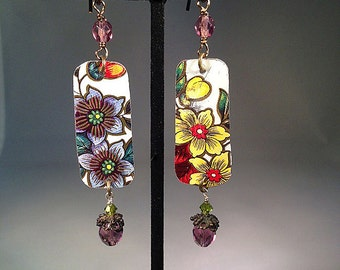 Vintage Tin Primavera Floral Earrings