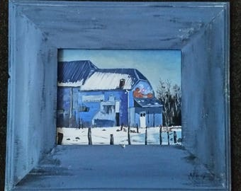 Acrylic original one off painting with wooden painted frame, barn in Belgium
