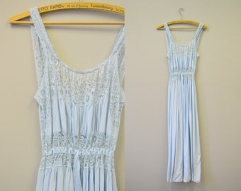1950s Blue Lace Night Gown