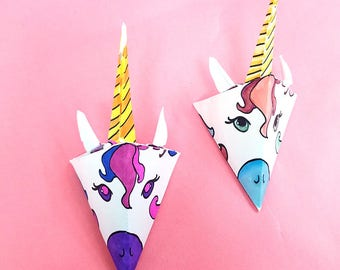 Unicorn Paper Craft - Full Color and Color-in Template - Baby Mobile and Nursery Decor - Coloring Page for Adults