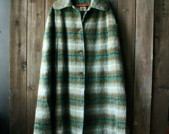 Mohair Wool Cape Scotland Fraser Caneron Plaid Green Blue Poncho Coat Fully Lined Maxi Midi Cape Vintage From Nowvintaga on Esty