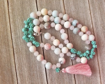 Blush and teal beaded tassel necklace