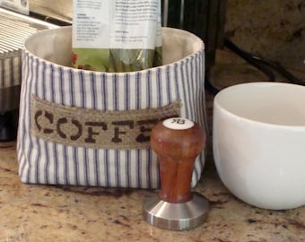 Ticking Fabric Basket with a Burlap Coffee Label - Small - Select Your Color