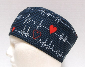 Mens Scrub Hat or Surgical Cap Cardiac Heart EKG on Black or White