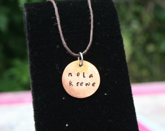 Nola Krewe Hammered Penny Charm Necklace Copper Jewelry New Orleans Nola Art Gift Parade Mardi Gras