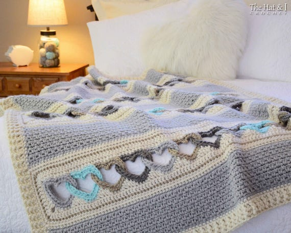 CROCHET PATTERN - With All My Heart - crochet blanket pattern, heart afghan pattern, linked hearts blanket pattern - Instant PDF Download