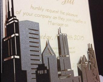 Chicago Skyline Wedding Invitation