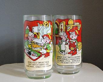 Vintage Keebler Elf Glasses, Advertisement Glasses, Collectible Glasses 1984, Soft Batch Cookies,  Promotional Glasses