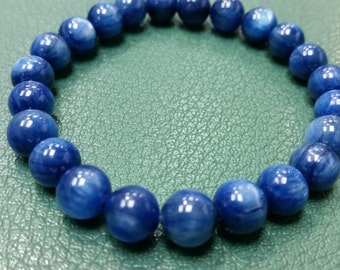 9mm Blue Kyanite Bracelet , Ready wear bracelet . Top Quality beads