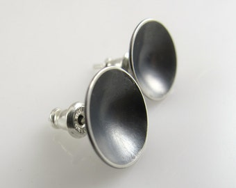 Dark CUPPED STERLING Earrings Patina Domed Stocking Stuffer Gift for Her