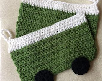 Crochet green vw westfalia camper bus potholders trivets set