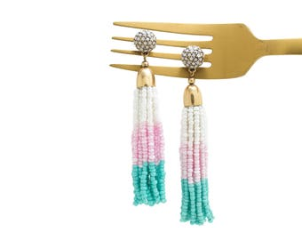 Tassel Earrings, Ombre Tassel Earrings, Beaded Tassel Earrings, Drop Earrings, Beaded Earrings, Statement Earrings, Unicorn Tassel