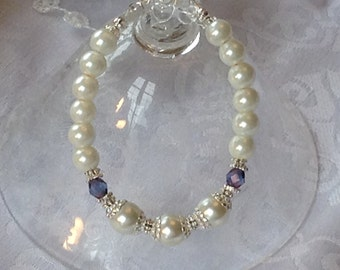 White Pearl and Sapphire/Amethyst Crystal Bridal Bridesmaid Bracelet