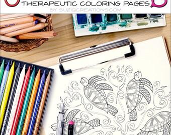 Sea Turtles Splash Mandala Coloring Page OrnaMENTALs #0026 PDF