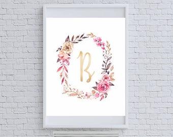 "Floral Gold Glitter Monogram ""B"" Art Print"