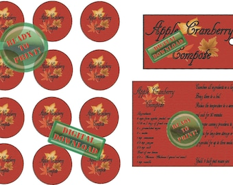 Apple Cranberry Compote Printable Recipe Cards Gift Tags Jar Labels Digital Set Fall Themed Turned Leaves Red Yellow Fall Wedding Favor Tags