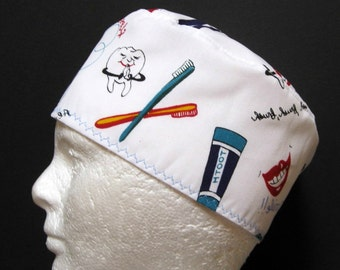Mens Dental Scrub Hat, Surgical Cap or Skull Cap for Dentists