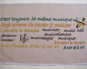Embroidery sayings about music with cross stitch