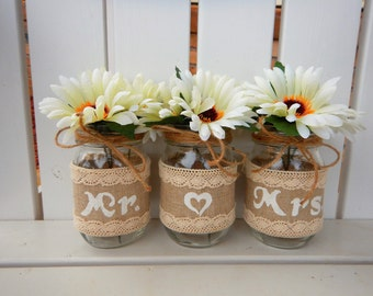 Mr and Mrs Centerpiece, Bride and Grooms Table, Mr and Mrs Mason Jars, Wedding Table Decor, Wedding Table Decor, Bridal Shower, 3 Piece Set