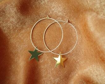 Glazed Star Hoop Earrings - Gold Earrings - Star Earring - Hoop Earrings