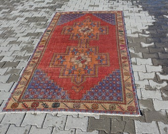 Living room rug, small rug, turkish oushak rugs, large rug, small vintage rug, hallway  rugs, navajo rugs, bohemian rugs, 8.3x4.4 Ft AG199