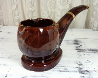 Vintage Napcoware Pipe Ashtray Glazed Brown Drip Pottery with Gold Accents