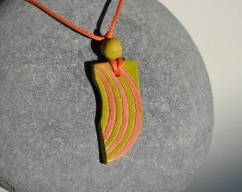 Ceramic glazed pendant: handmade, abstract or rainbow design, green and soft orange