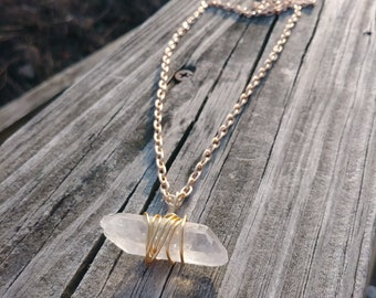 Crystal Quartz wrapped with Gold wire