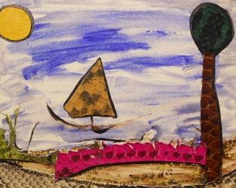 Pink Bridge Lil Sailboat 8x10 Mixed Media Original, Whimsical Folk, Fiber Art , SFA Painting on Canvas Panel