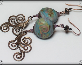 Handmade Jewelry, Earrings, Beaded, Lampwork, Crystal, Antique Bronze, Blue, Aqua, Lavender, Purple, Pink, Amber, Boho, Artisan, Swirl
