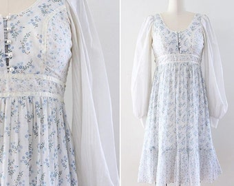 Gunne Sax Dress - 1970s calico prairie dress - Extra Small - empire waist bishop sleeves midi length festival wear boho chic