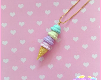 Pastel ice-cream cone necklace