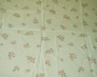 Cotton Pink Roses Faux Moire Print Fabric 1.75 Yards Sewing Quilting Crafting Fabric 1017